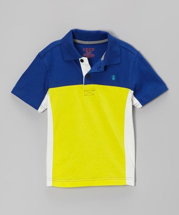 Blue & Yellow Color Block Polo - Boys