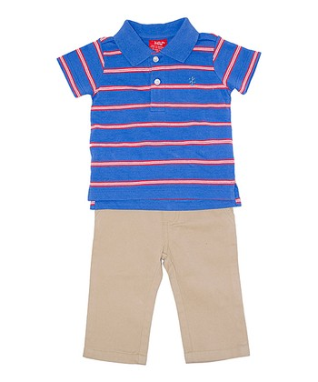 Blue & Red Stripe Polo & Khaki Pants - Infant