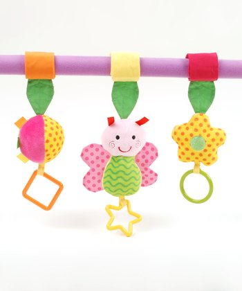 Stroller Activity Clip & Butterfly Ring o' Lings Rattle Set