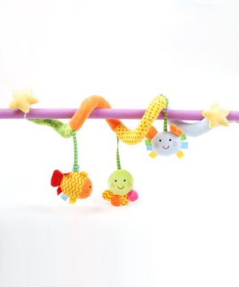 Blue Stroller Activity Clip & Sea Life Ring o' Lings Rattle Set