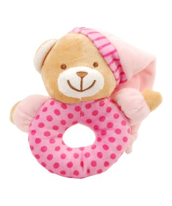 Pink Bear Baby Ring Rattle