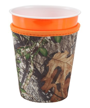 Occasionally Made Orange & Mossy Oak Cup Cozy