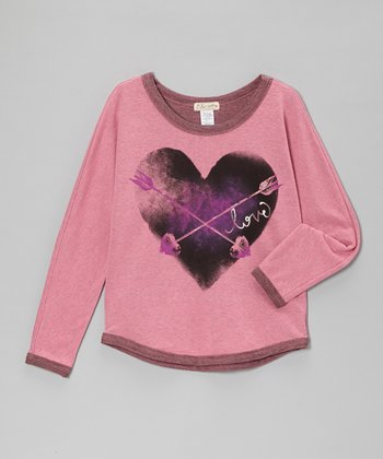 Pink & Black 'Love' Heart & Arrow Top - Girls