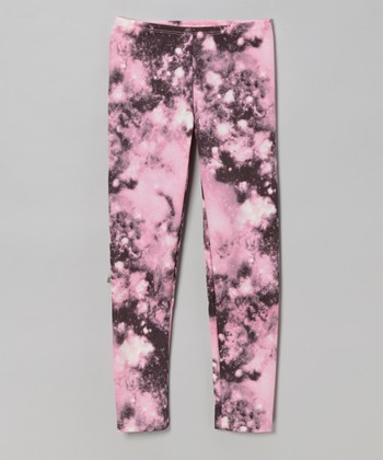 Pink Galaxy Leggings - Girls