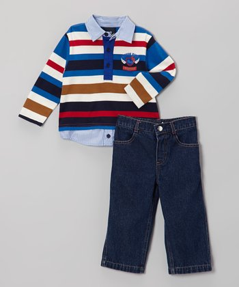 Red & Blue Stripe Polo & Jeans - Toddler