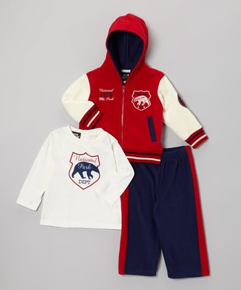Red Polar Fleece Zip-Up Set - Toddler