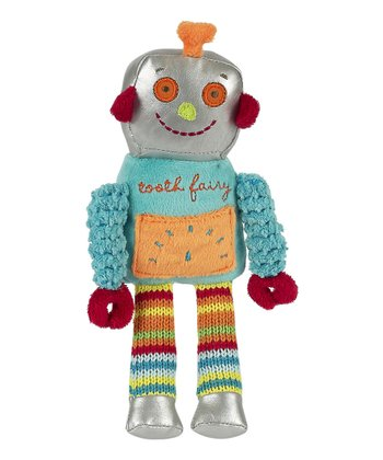 Blue Stripe 'Tooth Fairy' Happy Robot Plush Toy