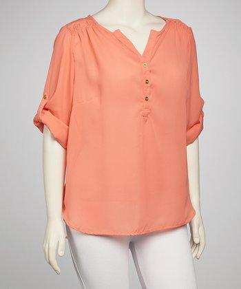 Coral Convertible-Sleeve  Top - Plus