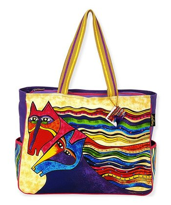Purple & Yellow Wind Spirit Large Tote