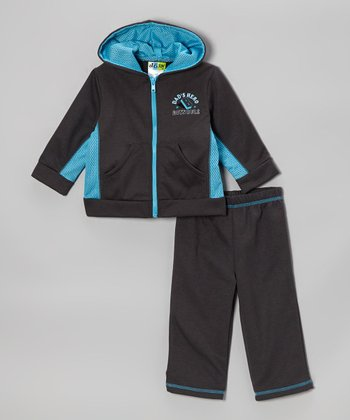 Light Blue Zip-Up Hoodie & Gray Sweatpants - Infant & Toddler