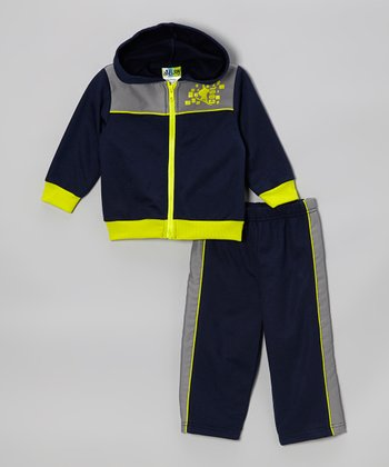 Lime Green Zip-Up Hoodie & Navy Track Pants - Infant & Toddler