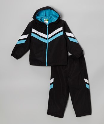 Blue Zip-Up Jacket & Black Pants - Toddler