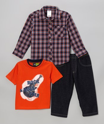 Orange & Navy Plaid Button-Up Set - Infant & Toddler