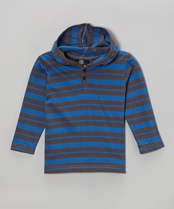 Charcoal & Blue Stripe Hooded Henley - Toddler