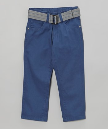 True Navy Belted Slim Pants - Toddler