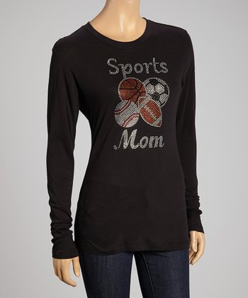 Black Rhinestone 'Sports Mom' Top