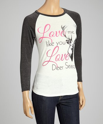 White 'Love Deer Season' Rhinestone Top - Women