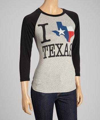 Gray 'I Love Texas' Raglan Top - Women