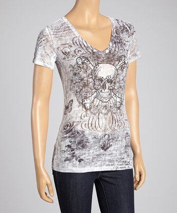 Gray Burnout Skull V-Neck Tee