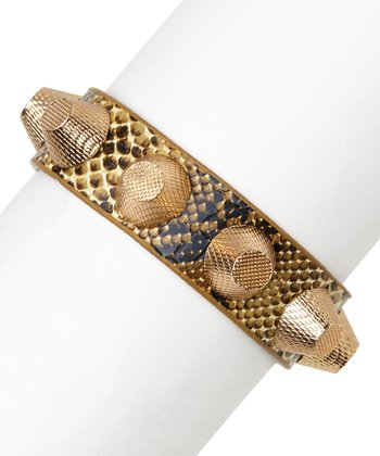 Brown & Rose Gold Snakeskin Studded Bracelet
