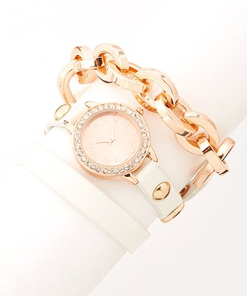 White & Rose Gold Rhinestone Chain-Link Wrap Watch