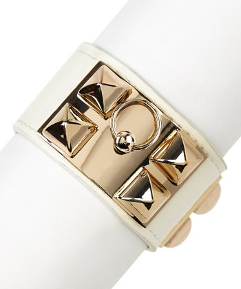 White & Gold Square Stud Buckle Bracelet