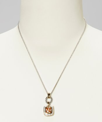 Champagne Topaz Loop Pendant Necklace