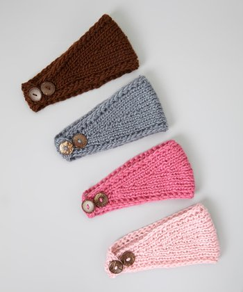 Pink & Brown Crocheted Headband Set