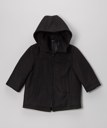 Black Wool-Blend Zip-Up Coat - Toddler & Boys