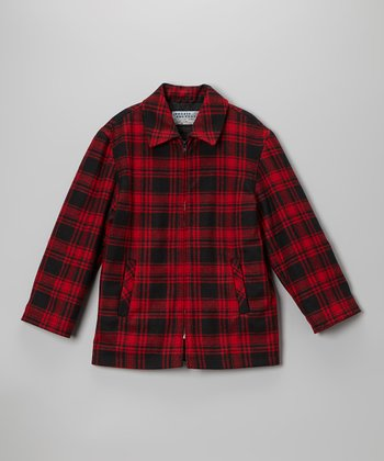 Red Plaid Wool-Blend Coat - Boys