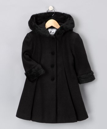 Black Hooded Wool-Blend Swing Coat Set - Toddler & Girls