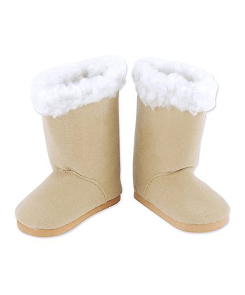 Tan Sherpa-Trim Doll Boots