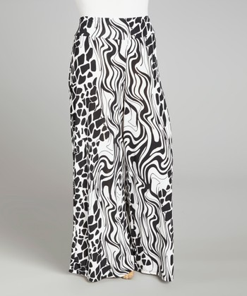 Black & White Flow Palazzo Pants - Plus