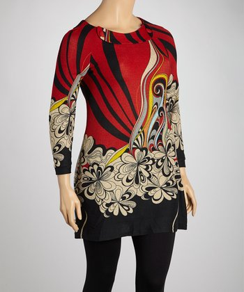 Red Floral Swoosh Sweater Dress - Plus