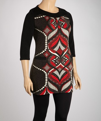 Black & Red Spade Pocket Sweater Dress - Plus