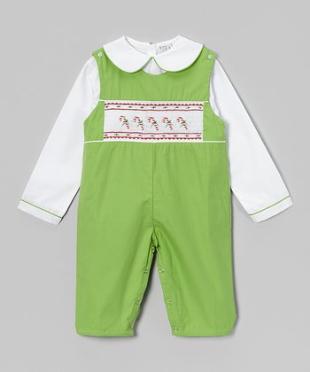 Green & White Candy Cane Blouse & Overalls - Infant
