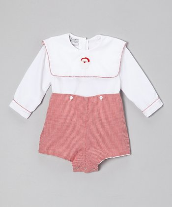 Red & White Gingham Santa Bodysuit  - Infant