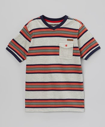 Heather Gray & Red Stripe V-Neck Tee - Boys