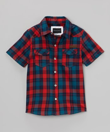 Red & Navy Plaid Button-Up - Boys
