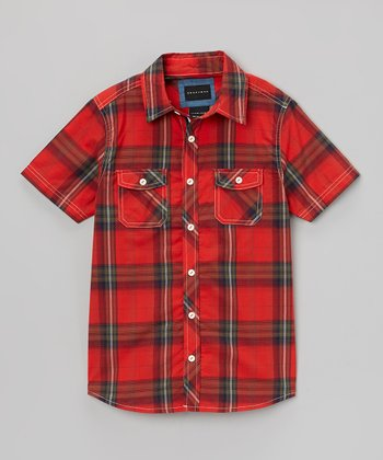 Red & Green Plaid Button-Up - Infant, Toddler & Boys