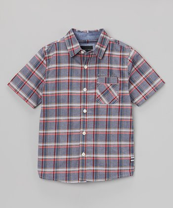 Blue & Red Plaid Button-Up - Infant, Toddler & Boys