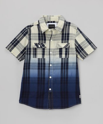 Navy Buffalo Plaid Button-Up - Toddler & Boys