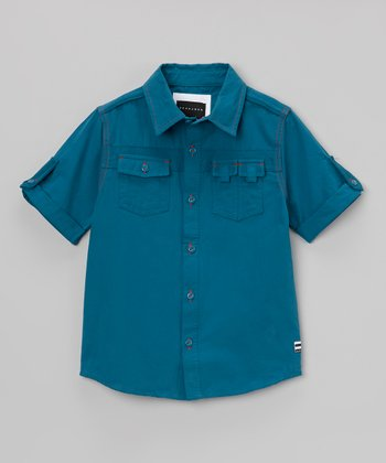 Blue Flight Button-Up - Infant, Toddler & Boys
