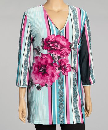 Pink & Blue Floral V-Neck Tunic - Plus