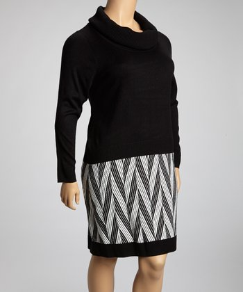 Black & Ivory Chevron Cowl Neck Sweater Dress - Plus