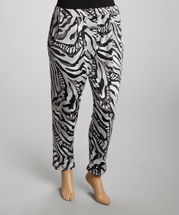 Black & White Abstract Pants - Plus