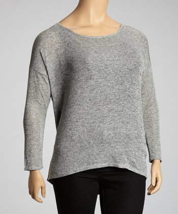 Gray Mottled Scoop Neck Top - Plus