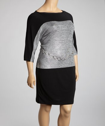 Gray & Black Color Block Belted Dress - Plus