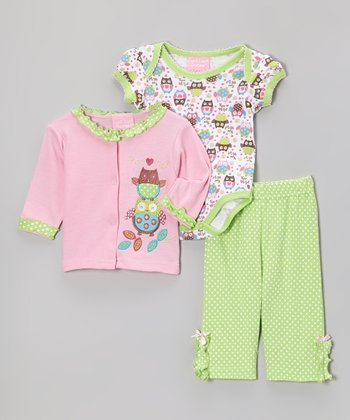 Pink & Green 'Hoo Loves Me?' Owl Cardigan Set
