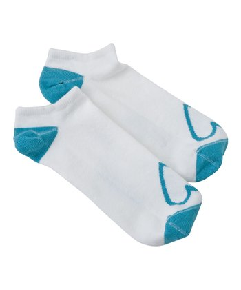 Cloud White Heart No-Show Socks - Women